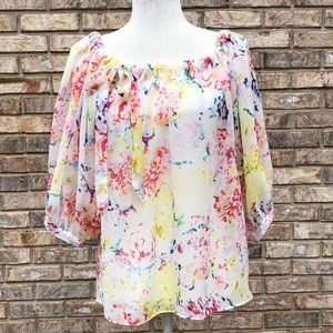 CAbi pink, yellow, peach watercolor top, Sz XS